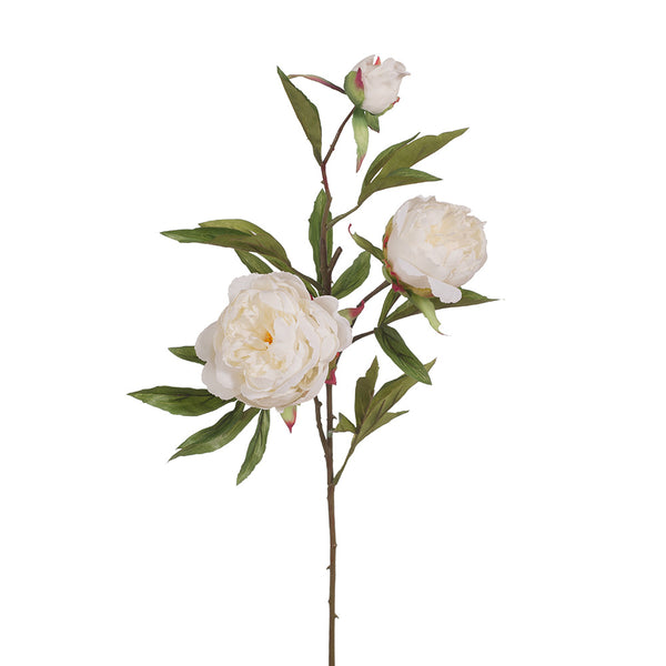 Artificial Silk Peony Flower Spray - White