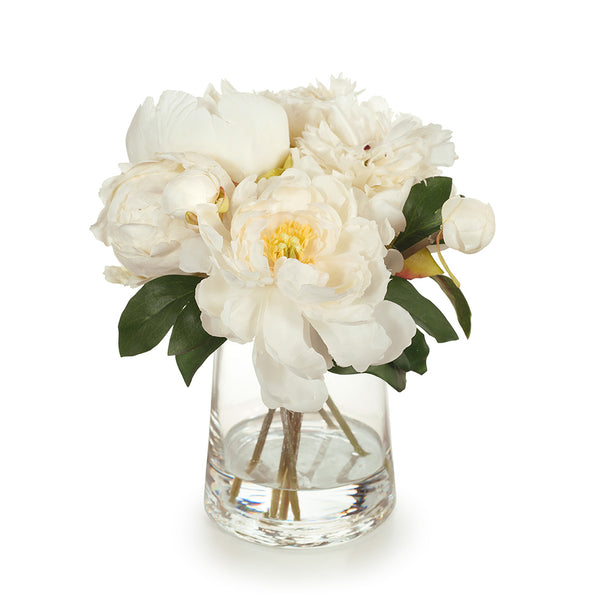 Arrangement Peony Mix in Vase - Cream