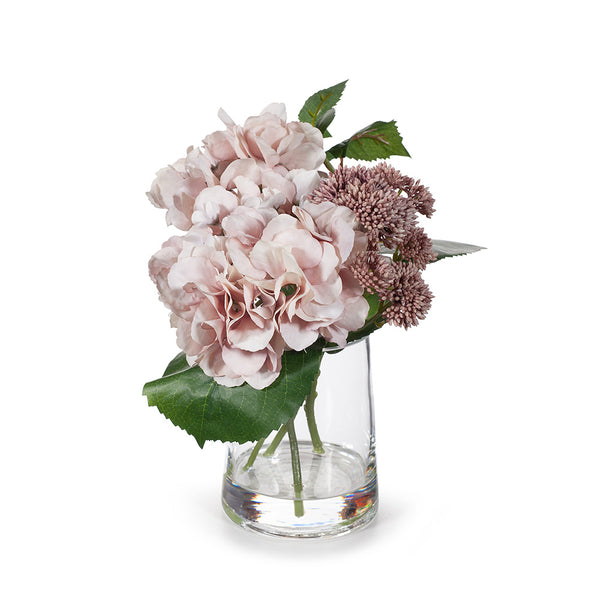Arrangement Hydrangea Sedum Mix in Vase - Soft Pink