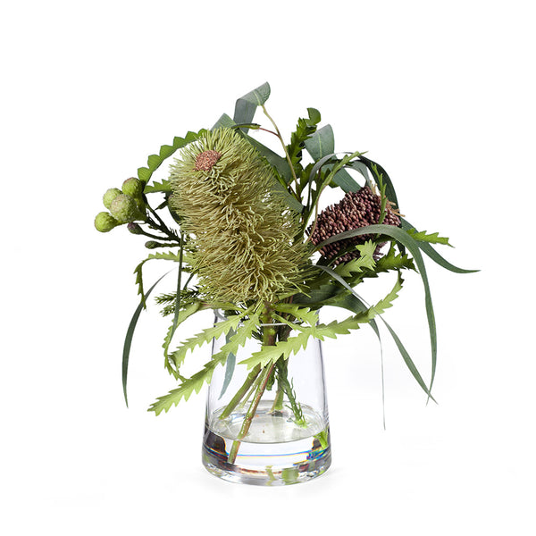 Arrangement Australian Native Banksia Mix in Vase - Coffee Cream