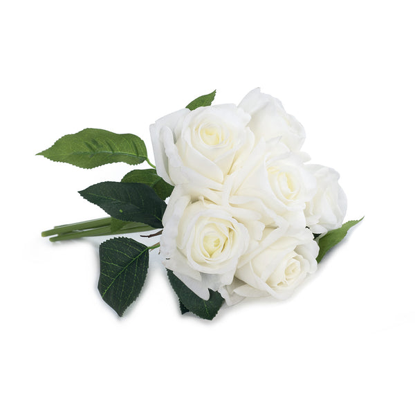 Artificial Silk Rose Fresh Touch Flower Bouquet - White