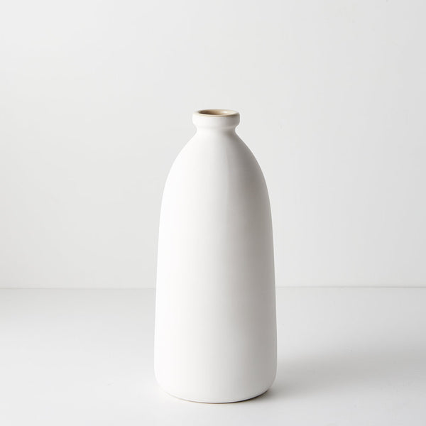 Ceramic Bottle Vase Cavo (15.5cmDx35.5cmH) - White