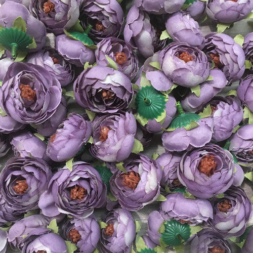 Artificial Silk Flower Heads - Dusty Lilac Peony Style 24 - 5 Pack