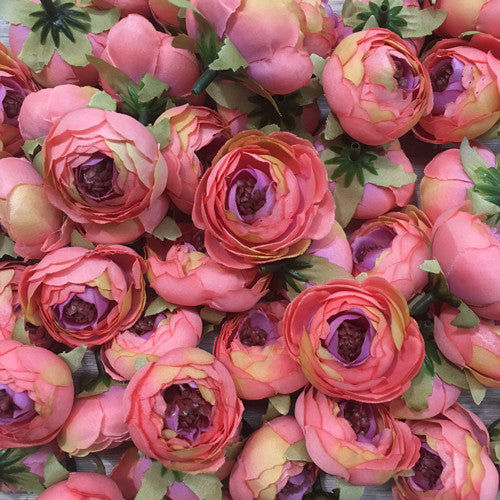 Artificial Silk Flower Heads - Ombre Peachy Coral Peony Style 63 - 5 Pack