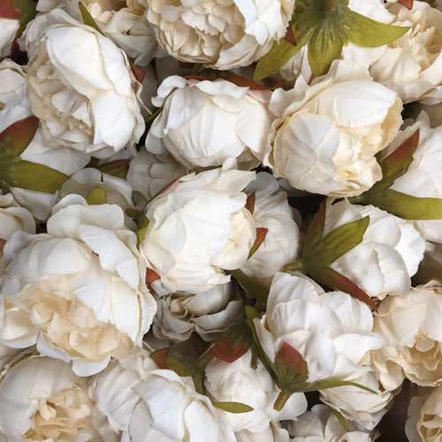 Artificial Silk Flower Heads - Cream Peony Style 65 - 5 Pack