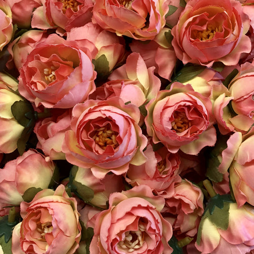 Artificial Silk Flower Heads - Ombre Pink Lemon Rose Style 83 - 5 Pack