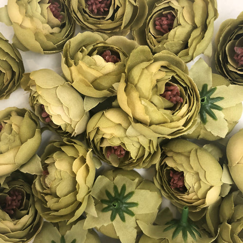 Artificial Silk Flower Heads - Olive Style 21 - 5 Pack