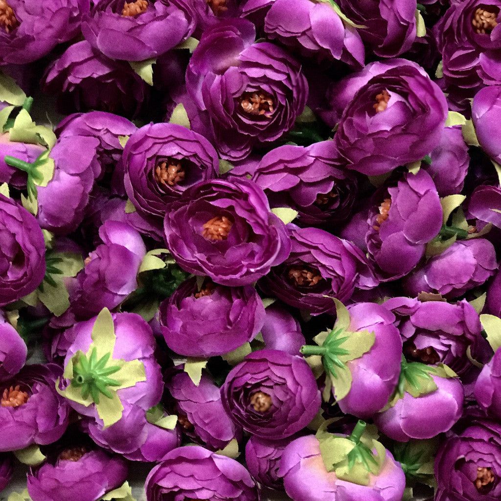 Artificial Silk Flower Heads - Vibrant Purple Peony Style 40 - 5 Pack