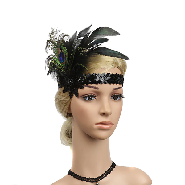 Great Gatsby 1920's Flapper Feather Headdress Fancy Dress - Black (Style 12)