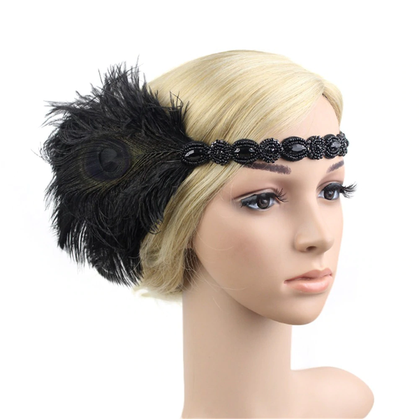 Great Gatsby 1920's Flapper Feather Headdress Fancy Dress - Black (Style 10)