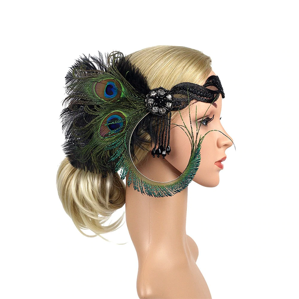 Great Gatsby 1920's Flapper Feather Headdress Fancy Dress - Natural (Style 9)