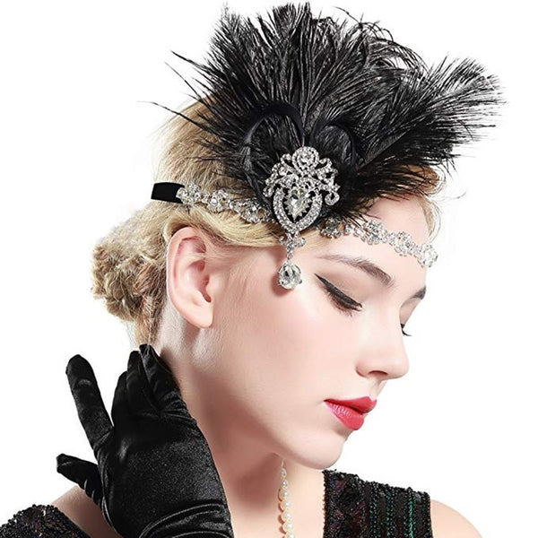 Great Gatsby 1920's Flapper Feather Headdress Fancy Dress - Black (Style 14)
