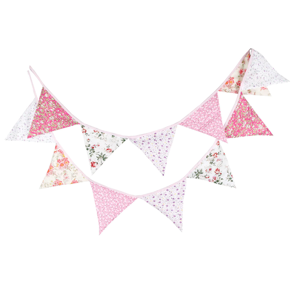 Wedding Tea Party Girly Vintage Rustic Cotton Bunting Garland - Floral Flowers