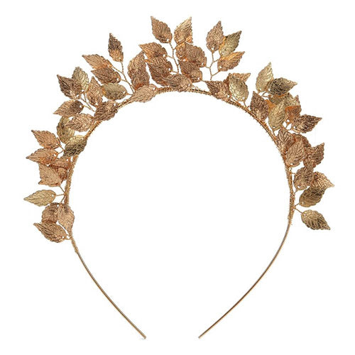 Leaf Metal Racewear Headpiece Headband - Gold