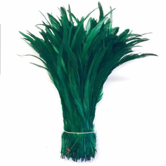 "10/12"" - 280mm Green Coque Tail Feathers /10 pcs"