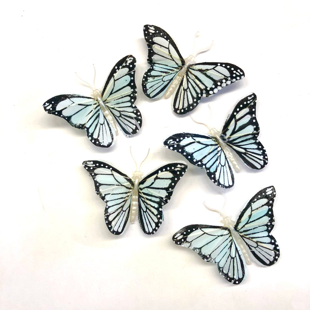 Feather Butterflies Style 4 MINI 5 Pack - Grey