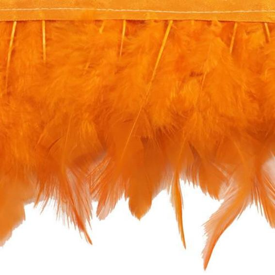 Orange Hackle Ribbon Strung per 10cm