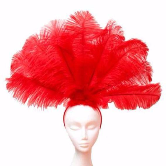 Ostrich Feather Drab Carnival Showgirl Costume Headdress