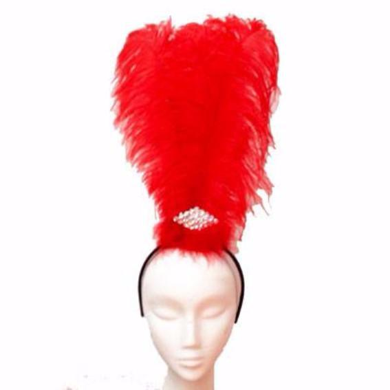 Ostrich Feather Drab Rio Showgirl Costume Headdress