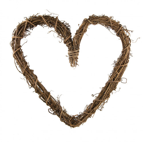 Natural Thick Grapevine Wreath Hoop Heart - 20cm Small HEART