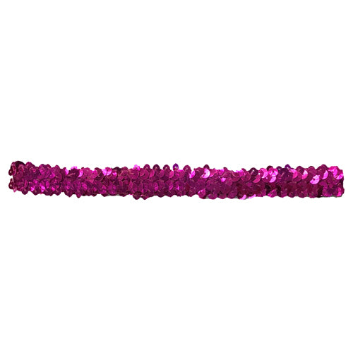Sequin Elastic Stretchy Headband Teen / Adults - Cerise x 10 pcs