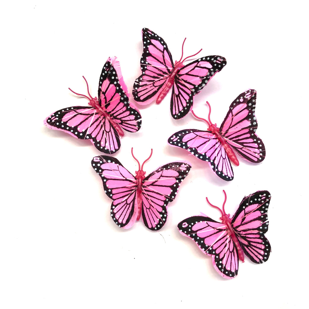 Feather Butterflies Style 4 MINI 5 Pack - Hot Pink