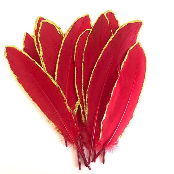 Gold Glitter Edge Goose Pointer Feathers x 10 pcs - Red