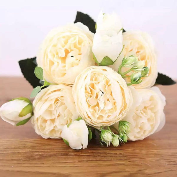 Artificial Silk David Austin Rose Mix Flower Bouquet Bunch - Ivory
