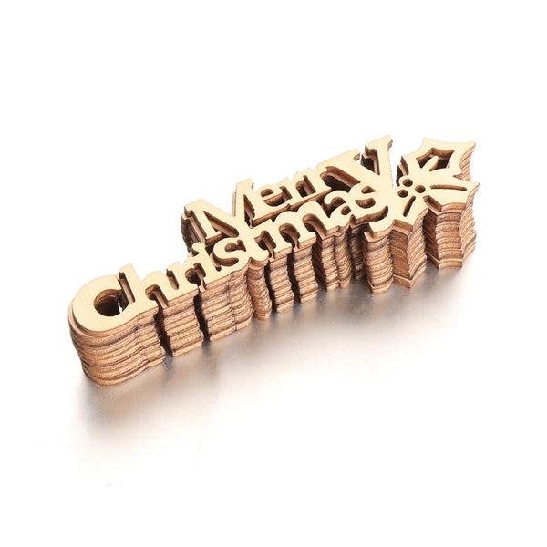 Laser Cut Unfinished Wood x 10 pcs - MERRY CHRISTMAS
