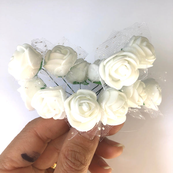 Artificial Foam & Tulle Flower Pick Style 3 - White