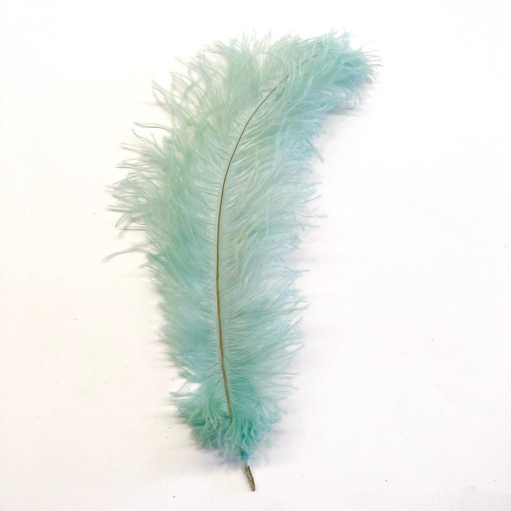 Dusty Teal Ostrich Blondine Feather x 10
