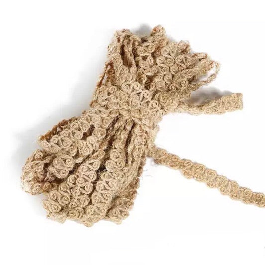 Natural Rustic Christmas Jute 12mm Ribbon per 5mtrs (Style 5)