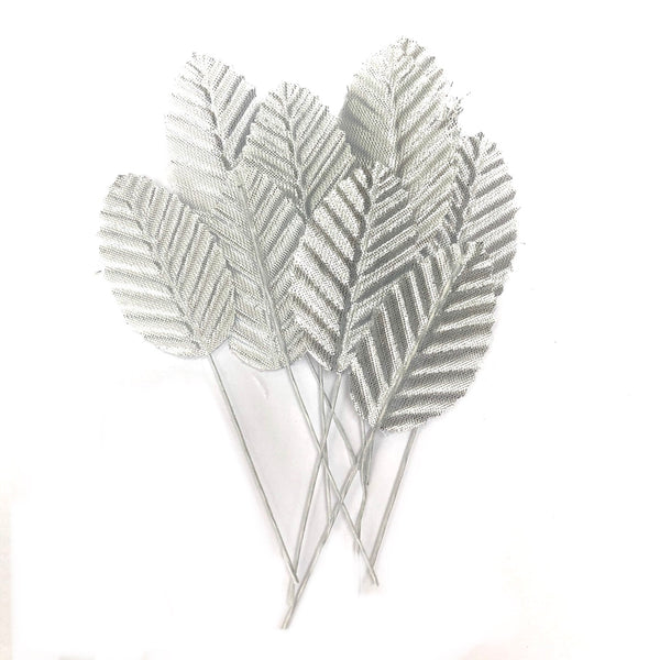 Artificial Satin Wired Leaves - Metallic Silver
