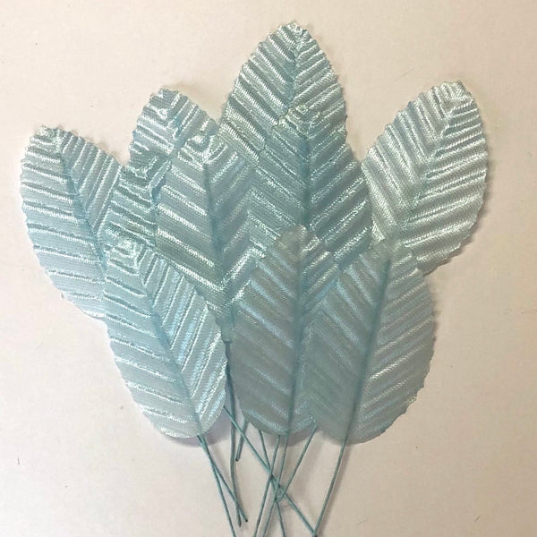 Artificial Satin Wired Leaves - Light Blue