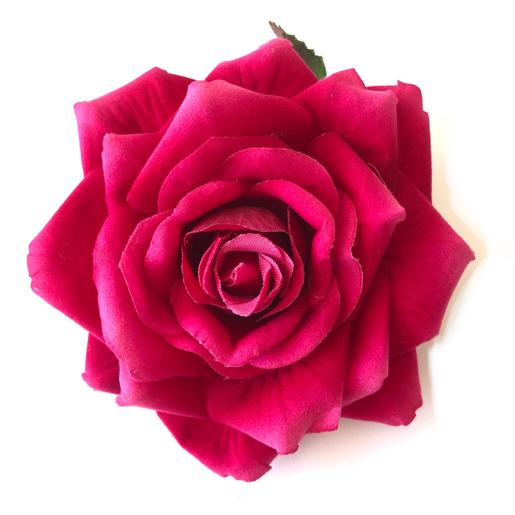 Artificial Silk Flower Head - Cerise Rose Style 51 - 1pc