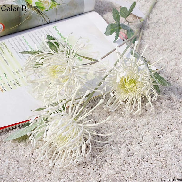 Artificial Australian Native Silk Protea Leucospermum  Flower Spray - Ivory (Style 4)