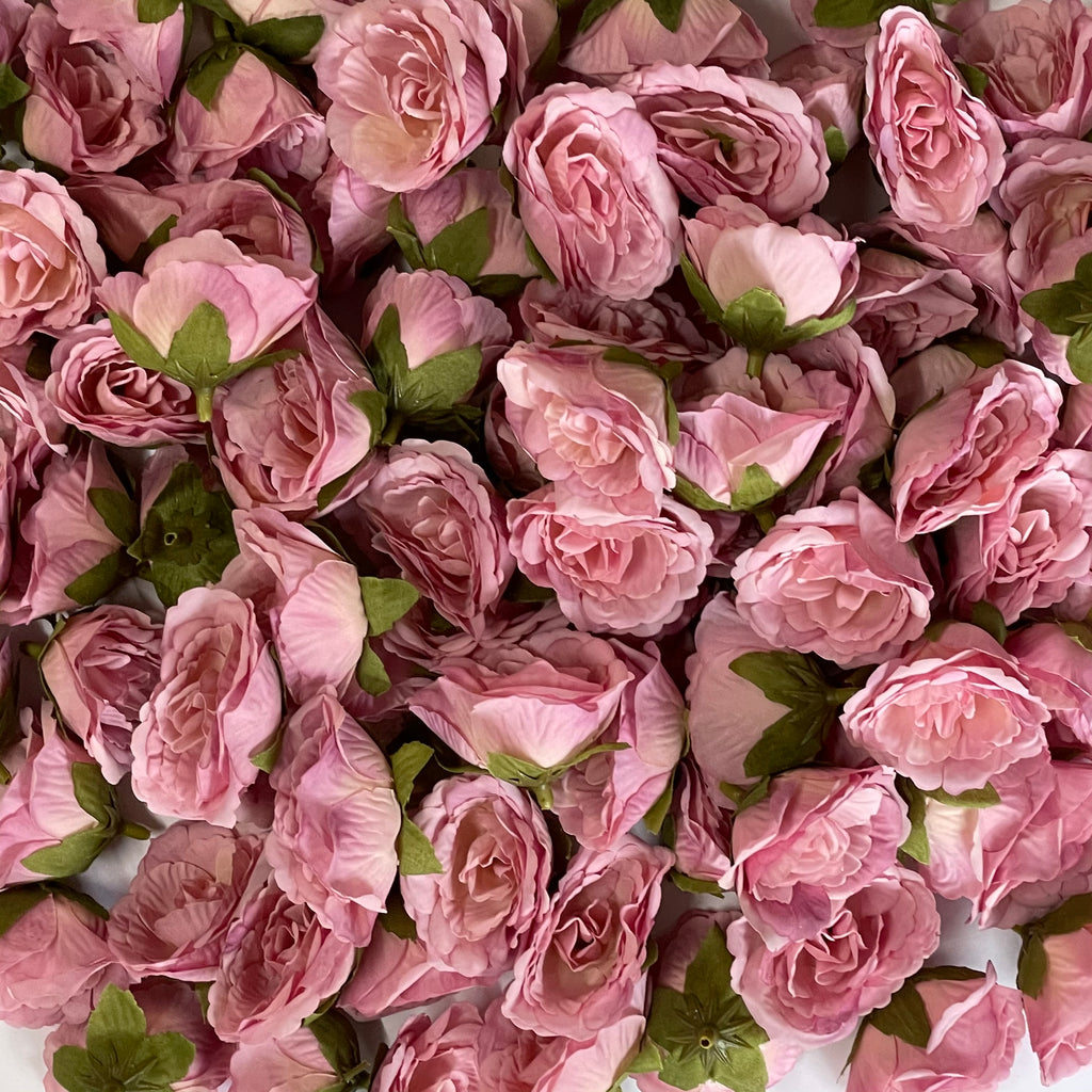 Artificial Silk Flower Heads - Dusty Pink Rose Style 74 - 5 Pack