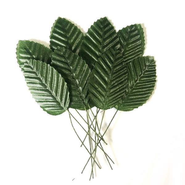 Artificial Satin Wired Leaves - Dark Green