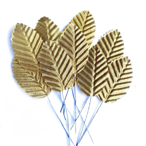 Artificial Satin Wired Leaves - Metallic Gold