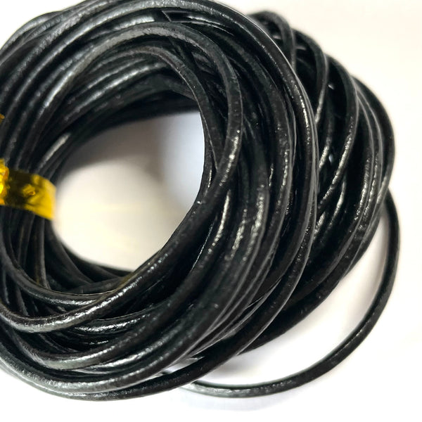 Natural Genuine Leather Cord 2mm per 10mtrs - Black