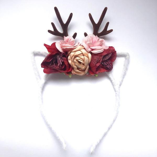 Christmas Holiday Reindeer Floral Headband - (Style 6)