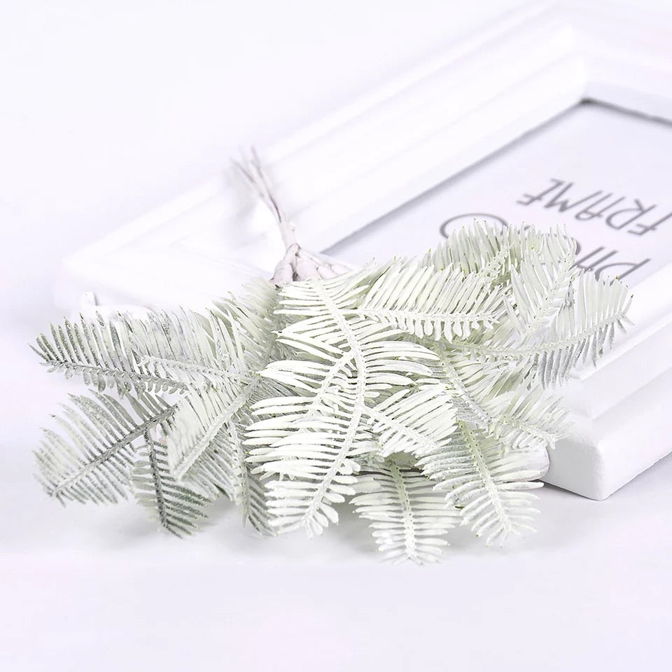 Artificial Christmas Pine Needle Leaf Wired Picks - White (Style 14)
