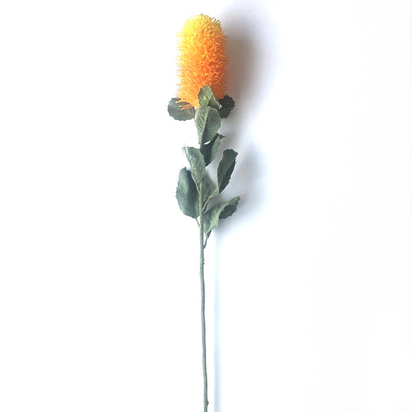 Artificial Australian Native Banksia Praemorsa Flower Stem - Golden Yellow (Style 3)