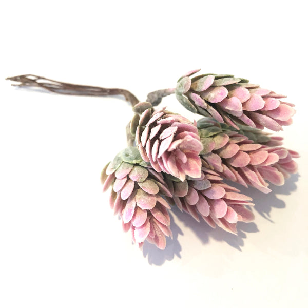 Artificial Succulent Wired Pick - Pink/Green (Style 1)