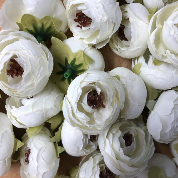 Artificial Silk Flower Heads - White Peony Style 57 - 5 Pack