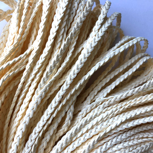 Ivory Suede Leather Braided Plait Cord per metre