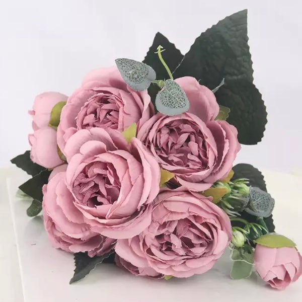 Artificial Silk Peony Blossom Mix Flower Bouquet Bunch - Dark Pink
