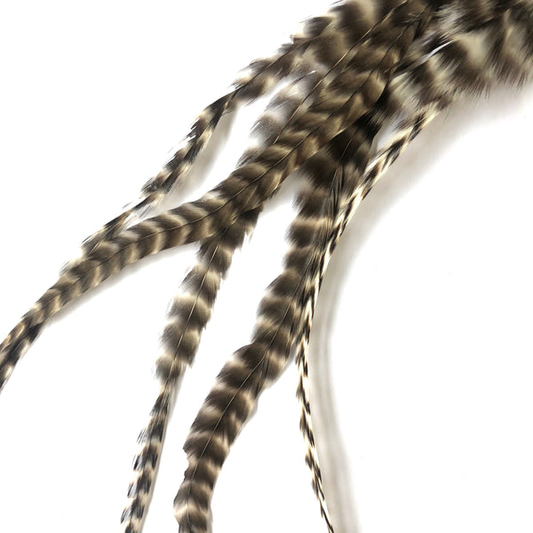 "Natural Hair Grizzly Rooster Feather Extensions & Micro Beads x 5 pcs - 10-12"" Long"