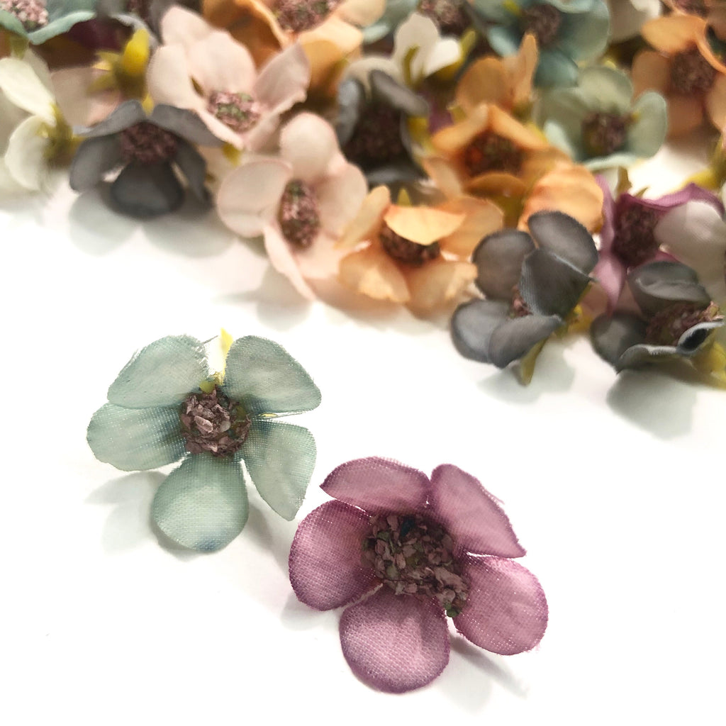 Artificial Silk Flower Heads - Pastel Blossom Assorted Style 17 - 10 Pack