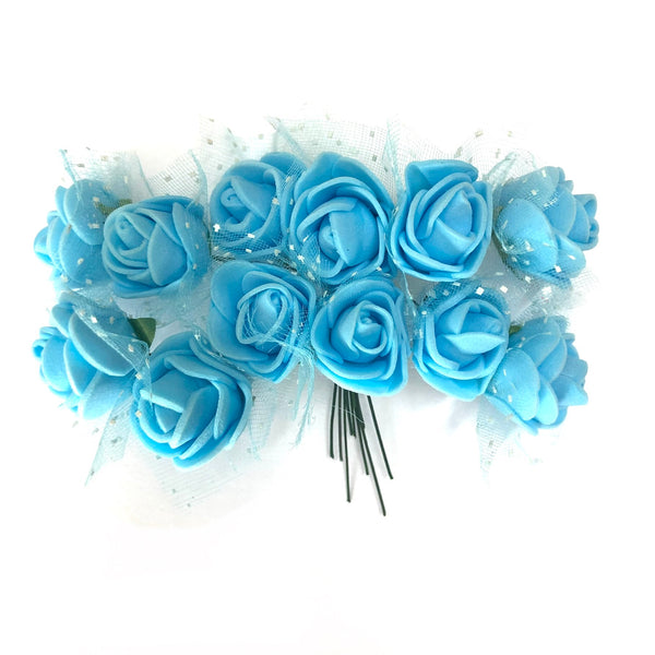 Artificial Foam & Tulle Flower Pick Style 3 - Blue